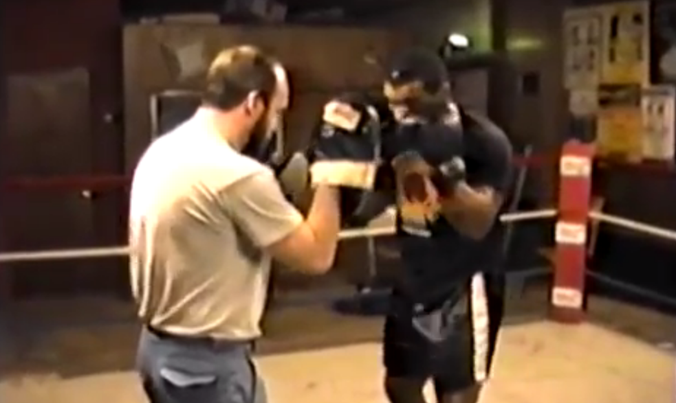 Mike Tyson on the mitts with Kevin Rooney
